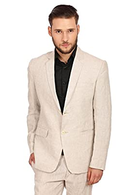 WINTAGE Men's 100% Linen Notch Lapel All Year Natural Color Blazer,46/ 2XL by