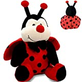 Ladybug Stuffed Animal Plush Ladybird Beetle Soft Insect Cuddly Lady Bug Toy with Red Wings and Black Bow, Bee Friend ,Great Present for Toddlers & Kids