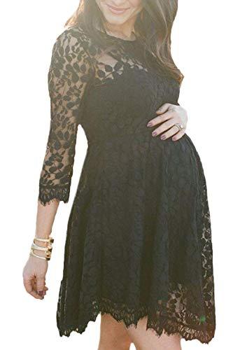 Dames Moederschap Jurk Kant Glamoureuze Eenvoudige Elegante Jurk Mode Vintage Feestelijke Moederschap Jurk 3/4 Mouw Ronde hals Onregelmatige A-lijn Feestjurk Zwangerschap Jurk