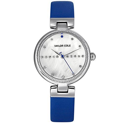 Taylor Cole Damen Armbanduhr Silber Leder Armband Lederband Blau Analog Modern Quarzuhr für Frauen Wasserdicht TC114