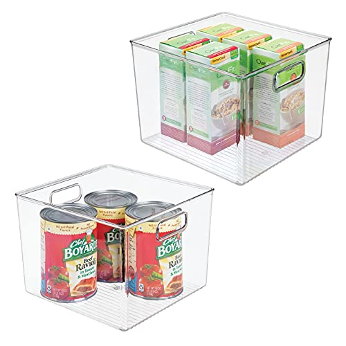 MDesign Juego De 2 Cajas Organizadoras Para La Nevera – Caja De Almacenamiento Para Fruta, Conservas, Medicinas Y Más – Gran Organizador De Plástico Sin BPA Para Cocina Y Despensa – Transparente