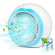 Portable Air Conditioner, Rechargeable Evaporative Air Conditioner with Low Noise 3 Speeds 6 Colors LED Light, Multifunctional Air Cooler with Handle for Home, Office and Room