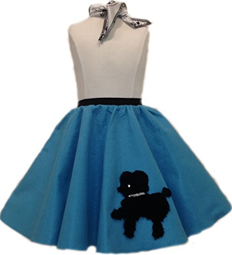 Toddler Poodle Skirt with Scarf (Turquoise)