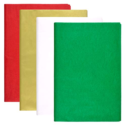 Livder 150 Sheets Christmas Tissue Paper for Gift Wrapping, DIY Art Craft Decoration, 20 x 30 Inches (Red, Green, Golden, White)