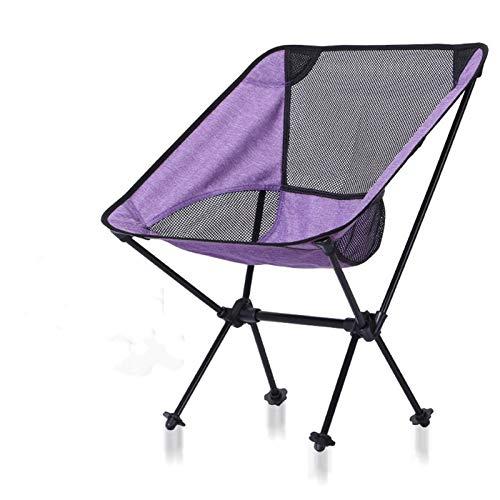 BSLBBZY Pesca estables Presidente de la Luna púrpura Plegable Que acampa de Muebles de Exterior portátil, sillas Ultra Ligero 0,9 KG Silla de Exterior de Ocio (Color : Dark Purple)