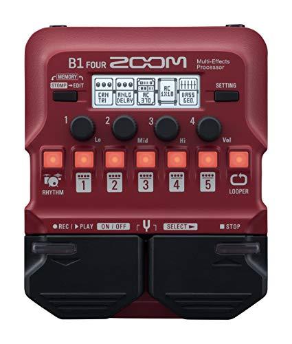 Zoom Pedal processador B1 Four Bass Guitar Multi-Effects com mais de 60 efeitos embutidos, modelagem de amplificador, Looper, seção de ritmo, afinador, alimentado por bateria