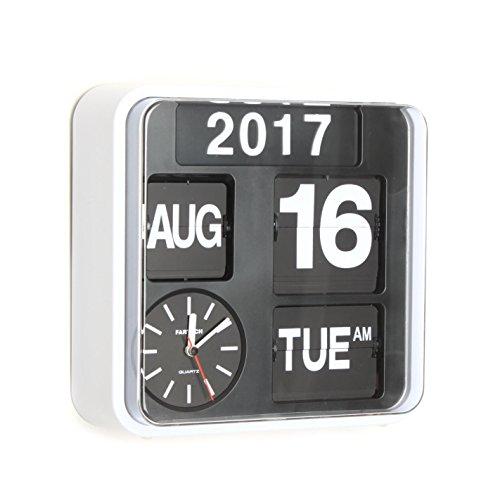 Fartech Retro Moderne Flip Wanduhr mit automatischem Kalender, 24 cm
