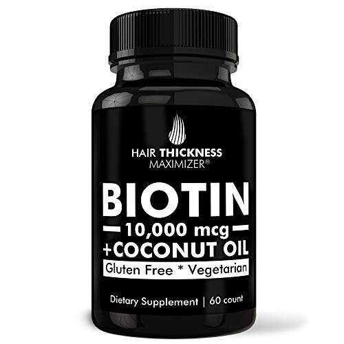 Biotin 10000mcg Vitamins with Organic Coconut Oil by Hair Thickness Maximizer. Hair Growth Vitamin Supplement for Men, Women. Made in USA. Combats Hair Loss and Thinning Hair. Vegetarian, Zero Gluten