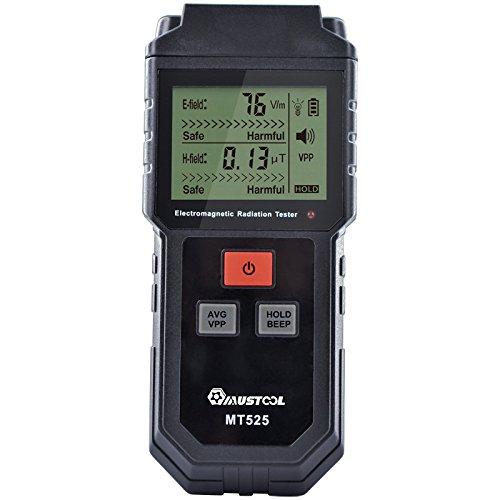Mustool MT525 - Medidor para radiaciones electromagnéticas, campo eléctrico y medidor de campo magnético, medidor con alarma sonora y luminosa, ancho de banda: 5 Hz - 3500 MHz