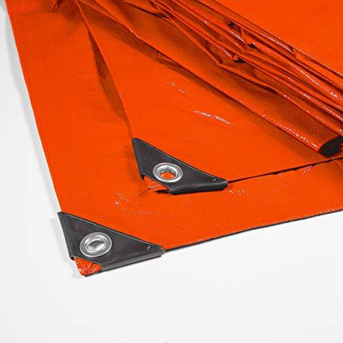 Floordirekt Abdeckplane | Gewebeplane | Schutzplane | Bootsplane | Zeltunterlage für Camping | Garten | wasserdichte Plane mit Ösen | Farbe: Orange (4x6 m (140 g/m²))