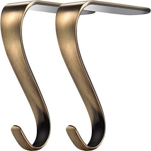 Boao - Set di ganci per calza della Befana o ghirlanda, in metallo, per mensola del caminetto Colore: bronzo.