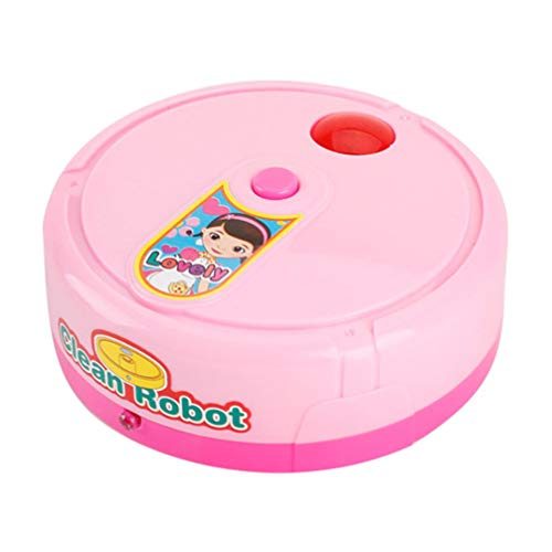 NUOBESTY Pretend Play Toys Robot Vacuum Cleaner Floor Mopping Robot Music Sweeper for Kid (Pink)