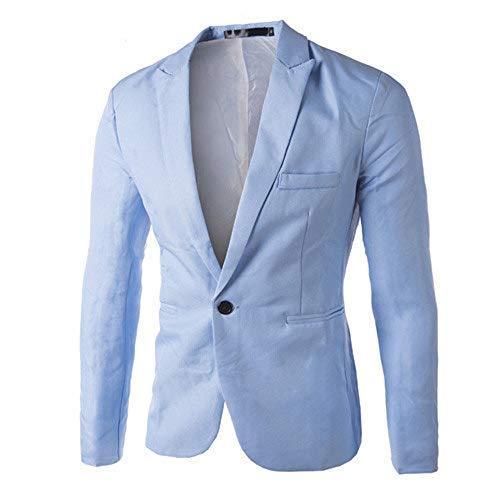Sumen Men Casual Slim Fit One Button Suit Blazer Coat Jacket for Work (M, Blue)