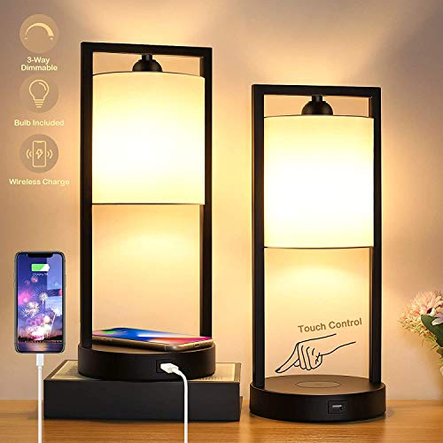 Wireless Charging Touch Control Dimmable Table Lamp with 2 USB Charging Ports, Set of 2 Bedside Nightstand Lamps White Fabric, Modern Desk Lamp for Bedroom Living Room Office, Bulbs Included