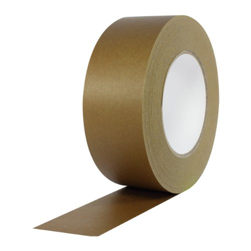 """ProTapes Pro 184HD Rubber High Tensile Kraft Flatback Carton Sealing Tape with Paper Backing, 7 mils Thick, 55 yds Length x 2"""" Width, Dark Brown (Pack of 1)"""