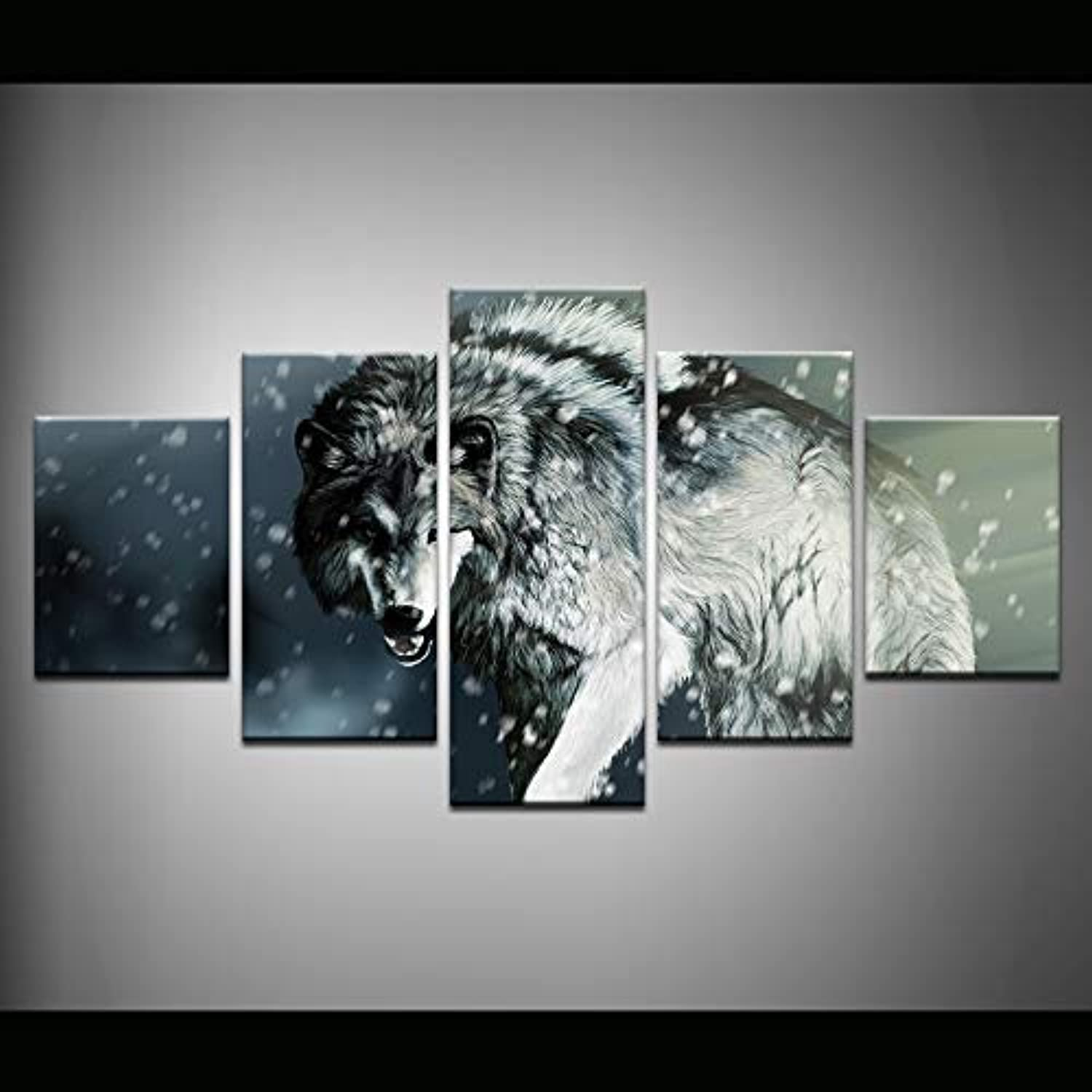 Living Room Decoration Canvas Painting Wolf in The Snow Canvas Print Art Modern Home Decor 5 Panel Wall Pictures Artwork