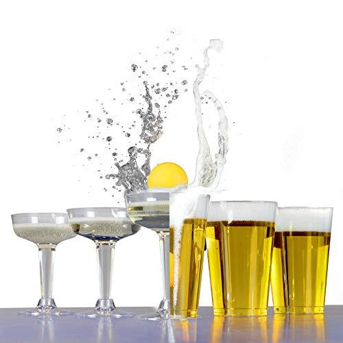 Party trinken Pong | Party Game Prosecco & Beer Kit | 12 Bier & 12 Prosecco-Gläser | Bier Pong Kit | Pukkr