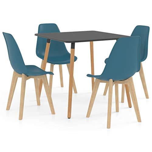 vidaXL Juego de Comedor 5 Piezas Muebles Restaurante Hogar Moderno Cocina Terraza Interior Asiento Silla Mesa Suave con Respaldo Turquesa