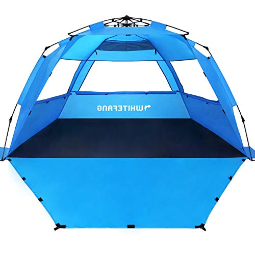 WhiteFang Deluxe XL Pop Up Beach Tent Sun Shade Shelter for 3-4 Person, UV Protection, Extendable Floor with 3 Ventilating Windows Plus Carrying Bag, Stakes, and Guy Lines