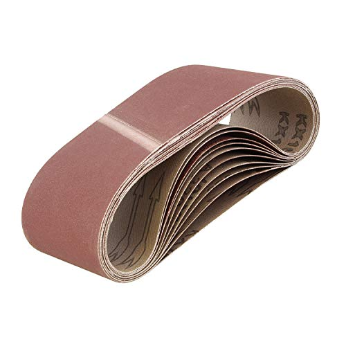 ABN | Cinturón de papel de lija abrasivo para lijadora de cinturón, cinturones de lijado de óxido de aluminio, 3 x 18 pulgadas, grano 320, paquete de 10