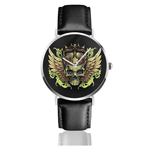 Reloj unisex de cuero con diseño de calavera con corona y alas con correa de cuero negro para hombres y mujeres