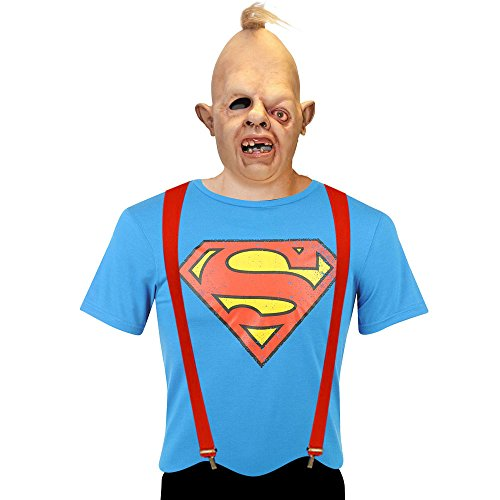 Adults Goonies Sloth Costume Including Mask, Red Braces and Superman T-Shir, S to 4XL
