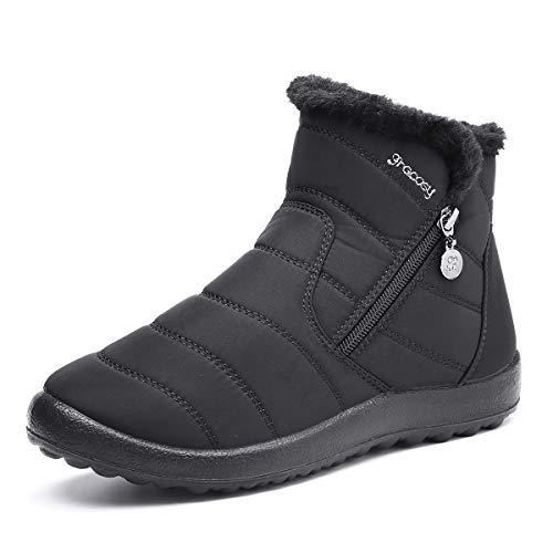 gracosy Stivali da Donna, Scarpe Invernali Neve Boots Flat Cerniera Stivaletti Velluto Mocassini Casual Comoda Suola Natale Nero Blu Rosso