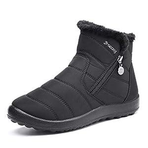 gracosy Botas de Mujer 2021 Otoño Invierno Goma Encaje Forro de Piel Punta Redonda Botas de Nieve Zapatos de Trabajo Formal Calzado Antideslizante Ligero Botines Que Caminan