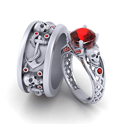 Anillo de compromiso de oro blanco sólido de 18 quilates, diseño de calavera con ancla náutica, anillo de cráneo, diamantes rojos a juego