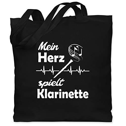 Shirtracer Instrumente - Mein Herz spielt Klarinette - Unisize - Schwarz - klarinette geschenk - WM101 - Stoffbeutel aus Baumwolle Jutebeutel lange Henkel