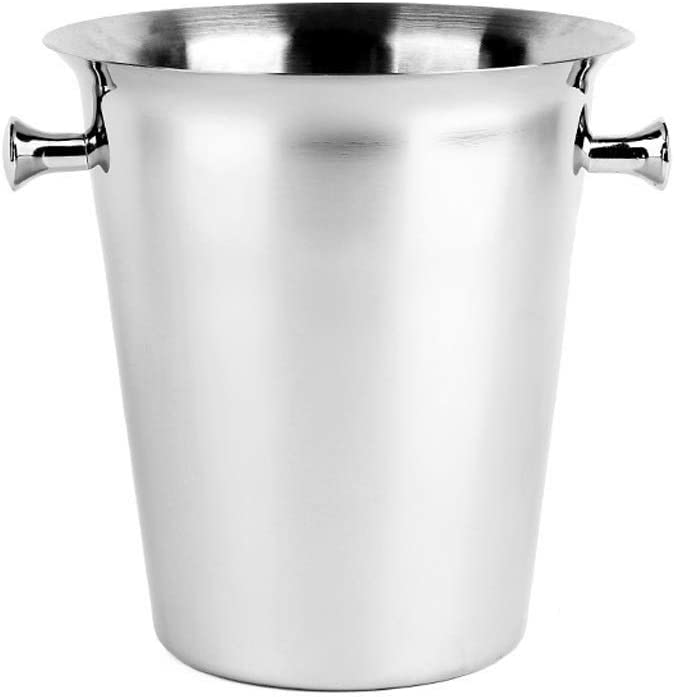 WJCCY Ice Bucket Stainless Steel Buckets Tongs Los Angeles Mall with Max 58% OFF Double W