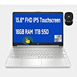 2021 Flagship HP 15 Laptop Computer 15.6' FHD IPS Touchscreen Display 10th Gen Intel Quad-Core i7-1065G7 16GB DDR4 1TB SSD WiFi Webcam HP Fast Charge USB-C Win 10 + iCarp Wireless Mouse