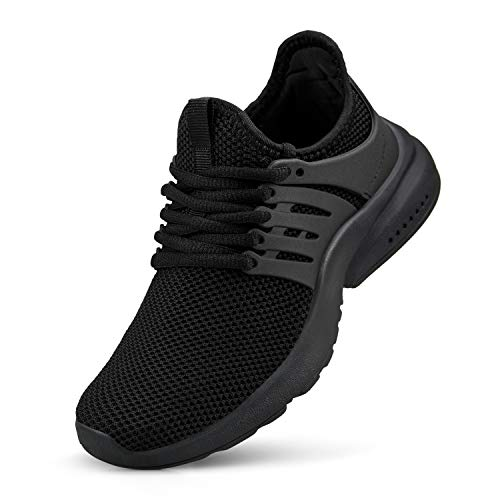 NYZNIA Boys Girls Shoes Tennis Running Lightweight Breathable Sneakers for Big Kids Black Size 6