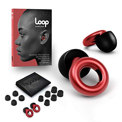 Loop Earplugs for Noise Reduction (2 Ear Plugs) High Fidelity Ear Protection for Concerts, Work Noise Reduction, Studying, Musicians, Motorcycles, Relaxation - 20 dB Filter Sound Blocking - Red