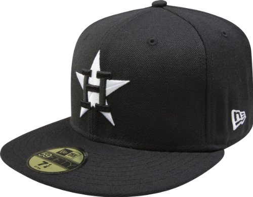 MLB Houston Astros Cooperstown Black with White 59FIFTY Fitted Cap, 7 3/4