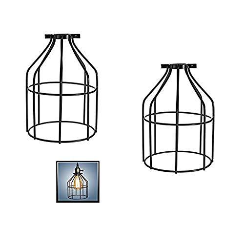 Metall Vogelkäfig Lampenschirm, Birnenkäfig Industrie Vintage Lampenhalter, Anhänger Draht Lampe/Licht Guard Cage Lampenschirme schwarz (Packung mit zwei)