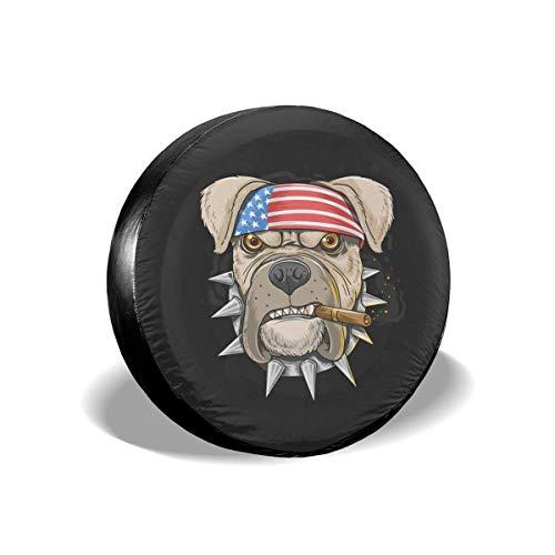 Lewiuzr Pitbull America Flag Head Punk Cubierta de neumático de Repuesto Protector Solar de poliéster Cubiertas de Rueda Impermeables Ajuste Universal