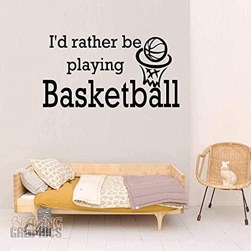 Pegatina de pared Arte de vinilo Decoración para el hogar En caso de jugar al baloncesto deportes mural decoración de la decoración de la habitación extraíble Póster 42x80cm