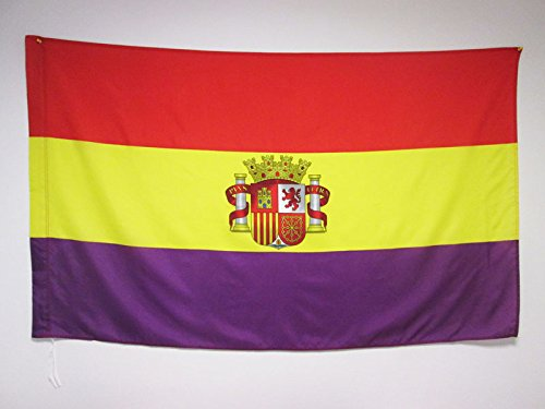 AZ FLAG Bandera ESPAÑA Republicana con Escudo 150x90cm para Palo - Bandera DE LA Republica ESPAÑOLA 90 x 150 cm