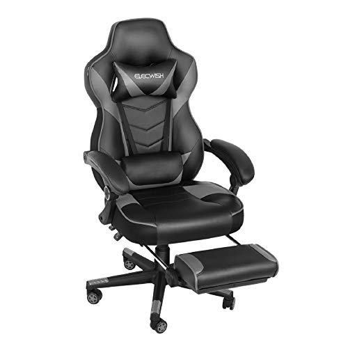 Ergonomic Computer Gaming Chair, Large Size PU Leather High Back Office Racing Chairs with Widen Thicken Seat and Retractable Footrest and Lumbar Support Video Game Chair 170 Degree Reclining Grey