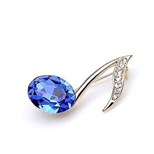 NaisiCore Creativa de la Nota Musical en Forma de Conjunto de joyería de la Broche de Lujo de la aleación del Rhinestone símbolo de música Broche Azul