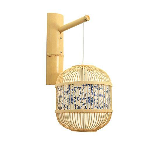 LED bamboe wandlamp vintage blauw en wit porselein patroon hotel gang restaurant deur bar handgemaakte wandlamp lamp lamp