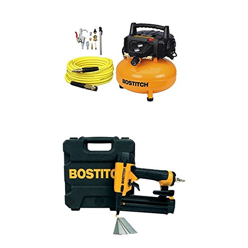 BOSTITCH BTFP02012-WPK 6-Gallon 150 PSI Oil-Free Compressor Kit with Gauge Brad Nailer
