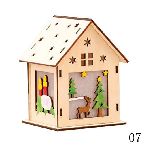 WSJKHY 1 stuk Festival Led-licht houten huis kerstboom hangende ornamenten vakantie mooi kerstgeschenk huwelijksdecoratie G