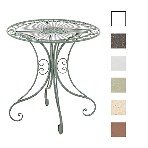 CLP Mesa de Jardín Hari | Mesa Auxiliar de Exterior en Estilo Rústico | Mesa de Terraza Redonda Diámetro: 70 cm | Color: Verde Envejecido