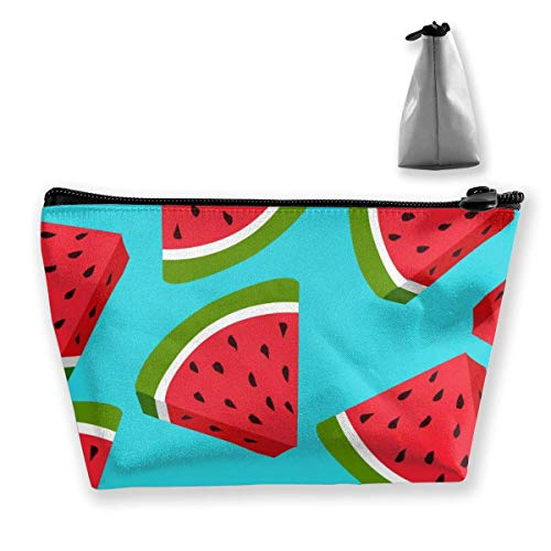 Pizeok Fresh Watermelon Trapezoid Cosmetic Bag Storage Bag Zipper Multifunctional Accessory Wallet Travel Outdoor Shopping Coin Wallet for Adult Women