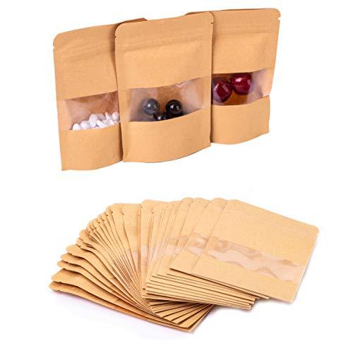 Gewürztüten | FVCENT 100 Stück Wiederverwendbar Papier Druckverschlussbeutel Food Storage Stand Up Pouch für Getrocknete Früchte Kaffee Samen Bean Tee Leaf (braun)