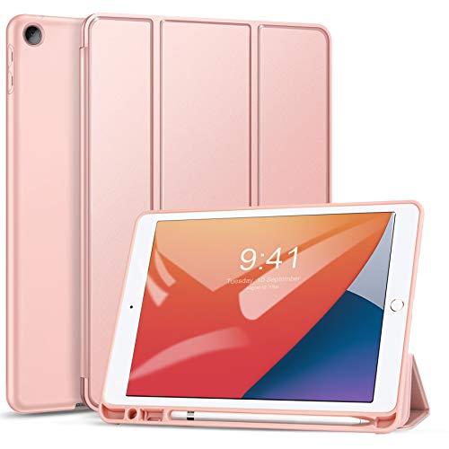 ZtotopCase Funda para iPad 10.2 2020/2019 (iPad 8/7), Ultra Delgada Smart Cover Carcasa con Soporte Apple Pencil, Función de Auto-Sueño/Estela,Funda para iPad 10.2, Rosa