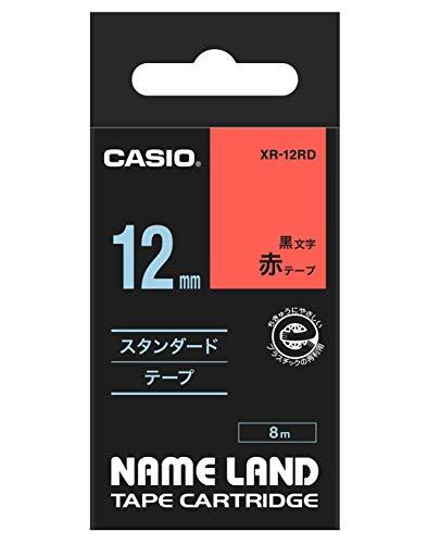 カシオ ネームランドテープ スタンダードテープ 12mm 赤テープ 黒文字 1個 XR-12RD