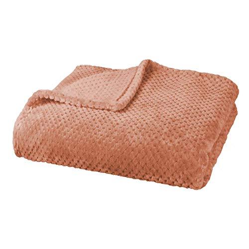 Delindo Lifestyle® Kuscheldecke Milano orange, Mikrofaser Fleece-Decke, 220x240 cm XXL, Bettüberwurf, flauschig weiche Wohndecke Tagesdecke für entspannte Abende